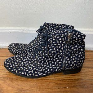 Navy Floral Ankle Boots